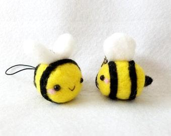 Handmade Needle Felt Bumble Bee Charm, Bumble Bee Charm, Kawaii Bumble Bee, Bee and Puppycat charm, Bee Charm