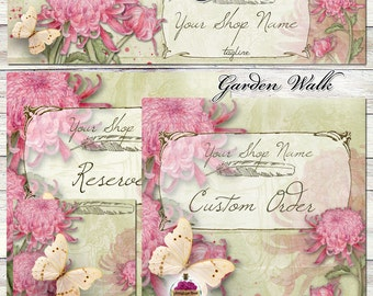 "NEW Sizes! -- ""Garden Walk"" - Etsy Shop Image Set - pink, moss, green, butterfly, flowers, spring, ooak, one of a kind, whimsical"