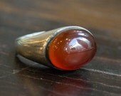 Cocktail ring, Carnelian stone ring, oval gemstone ring, Silver gold ring, bohemian jewelry, Boho chic jewelry - Summer Rain R2237-1
