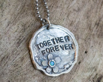 Sterling Silver Valentines Necklace, hand-stamped pendant, customized pendant, blue opal pendant, promise necklace - Together forever. N4483