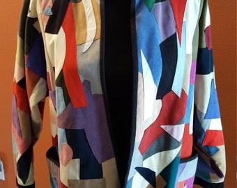 Handmade Vintage Suede/Felt Patchwork Jacket