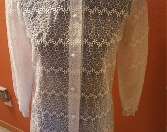 Vintage Cream Sheer Floral Blouse!