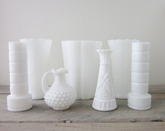 Milk Glass Vases Instant Collection Seven Piece Set