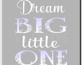 Dream Big Little One, Baby Girl Nursery Decor, Kids Wall Art, Purple Gray, Toddler Room Decor, Children's Room, Print or Canvas