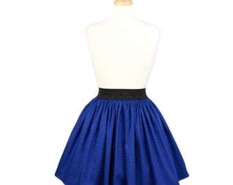 Electric Cobalt Blue A-line Pleated Skirt