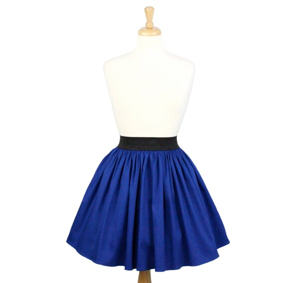 electric cobalt blue a line pleated skirt