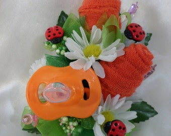 Ladybug Baby Shower Washcloth Corsage - Pin On Floral Corsage - Orange Pacifier and Washcloths Corsage- Baby Shower Items