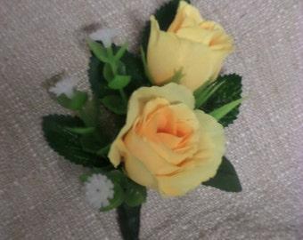 Boutonniere - Yellow Silk Seetheart Rose Boutonniere - Floral Boutonniere - Prom Boutonniere