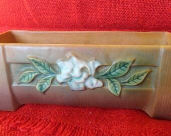 Vintage ROSEVILLE Gardenia Planter Brown Green Bonsai Windowbox