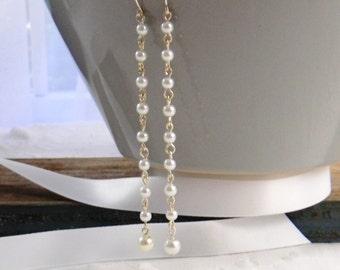 Long Pearl Wedding Earrings, Bridal Earrings, Wedding Jewelry, Pearl Earrings, Dangle Earrings, Womens Fashion Jewelry