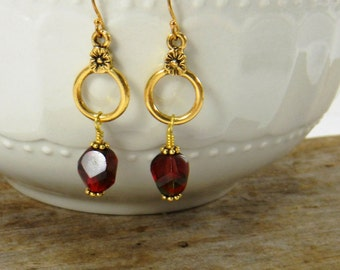 Red Earrings Dark Red Romantic Dangle Earrings Gold earrings Vintage Style Beaded Earrings Red Dangle Earrings