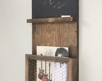 Mail Organizer Chalkboard, Homework Organizer, Chicken Wire, Mail, Storage, Chalkboard, Rustic Decor, Family Command Center, Home Decor