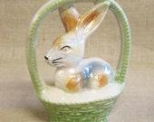 Easter Bunny , Ceramic Bunny , Luster Ware , Bunny in Basket , Bunny Figurine , Easter Basket , Easter Decoration , Easter Decor , Rabbit