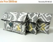 ON SALE Monogrammed Clutches - Set of 3 -  Bridal Party Gift - Gray and Yellow Wedding
