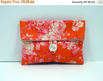 ON SALE READY To Ship Orange and Hot Pink Makeup Bag Cosmetic Bag Orange and Pink Wedding Clutch