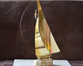 Sailboat--Vintage DeMott Brass Sailboat with Onyx Base and Signature --Collectible Nautical Home Decor early 90s