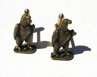 Vintage Eagle Cuff Links - Bronze Tone Metal - Cufflinks, Cufflink