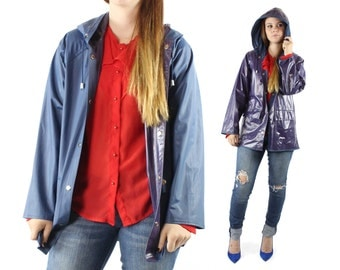 Vintage 80s Vinyl Raincoat Reversible Striped Hooded PVC 1980s Small S navy blue red Jacket