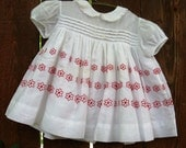 Girls' Toddler Vintage 60s White Cotton Babydoll Dress with Red Stitched Flowers, 6 - 12 Months