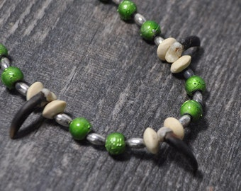 Green Forest Coyote Spirit - Real Coyote Claw Native American Style Necklace