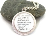 """Bible Quote Necklace, Psalm 91:4, """"He Will Cover You With His Feathers and Under His Wing You Will Find Refuge."""" Silver or Bronzed"""