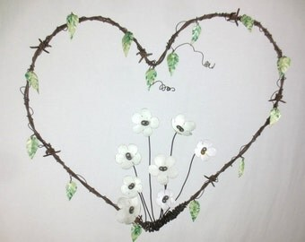 Barbed Wire Heart With White Forever Blooming Flowers and Vine Metal Flowers and Leaves