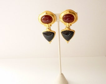 Vintage Designer Gold Dangling Earrings with Carnelian and Onyx Cabochons  2.5 Inches by Lazuli Designs c. 1990s
