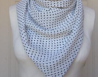 Multi Use Chiffon Handkerchief Scarf - White and Black Polka Dot