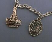 Vintage Irish Ireland Souvenir Silver Tone Charm Bracelet