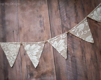 Burlap & Lace Banner, Burlap and Lace Wedding Banner, Wedding Banner, Wedding Decor, Lace Banner