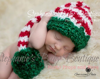 Crochet Baby Boy Girl Christmas Santa's Helper Stocking Cap, 6-12, 12-24 Months, Toddler Custom Made Pom Elf Hat Photo Photography Prop