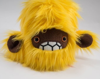 Severed pygmy yeti head plush.....Handmade monster stuffed animal.....Yellow faux fur