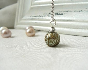 Carved Tahitian Pearl Pendant with Sterling Silver Bail and Chain - Unique Jewelry
