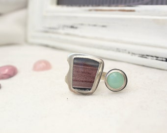 Sterling Silver Duet Ring with Chrysoprase and Zebra Hickorite Gemstone - Jewelry 925 - Size 8