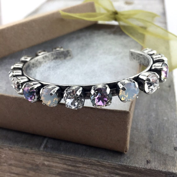 Swarovski Crystal Cuff Bracelet Silver Oxide 15 8.5mm stones Crystal, White Opal, Vitrail Light