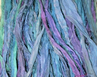 Denim Blues Recycled Sari Silk Thin Ribbon Yarn 5 or 10 Yards for Jewelry Weaving Spinning & Mixed Media