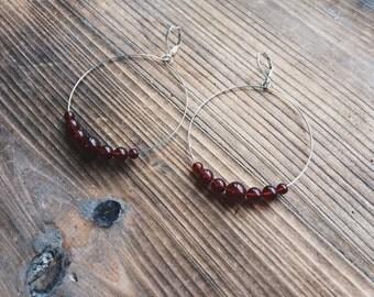 Carnelian Gemstone Silver Hoop Earrings Red Gemstone Jewelry Handmade in Indiana Rana Salame Jewelry Gemstone Hoops Carnelian Earrings