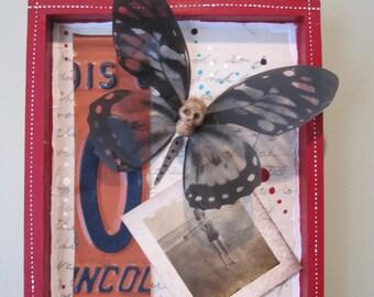 Skullerfly mixed media assemblage, shadow box, found object art