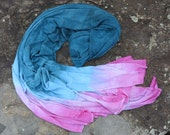 Hand Dyed OOAK Jersey Scarf, Extra Long Bamboo Jersey Scarf, Boho Scarf, Deep Blue with Pink Tips (raw edges)