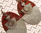 Clearance -Hand painted silver Oval brown  design with antique silver charms fabric  Earrings