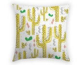 Throw Pillow with Cactus - 17 x 17 Inch - Linen Pillow