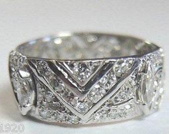 Antique Brilliant Marquise Single Cut Natural Conflict Free Diamond Platinum Eternity Wedding Band 1930's Band Ring Vintage Estate | RET-217