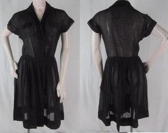 50s Black Dress M SHEER Cotton Full Skirt Shirtwaist Tucked Bodice Nelly Don