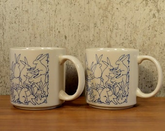 Vintage Rabbit Mugs Taylor & Ng Animates Series 1984