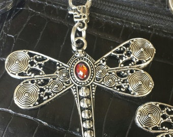 Large dragonfly, dragon fly, purse pull, zipper pull, backpack, jacket, pewter, red orange, purple, key chain, key ring