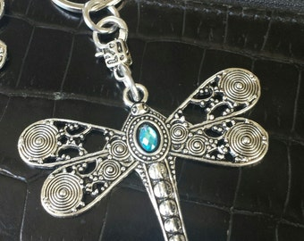 Large dragonfly, dragon fly, purse pull, zipper pull, backpack, jacket, pewter, blue, blue purple key chain, key ring