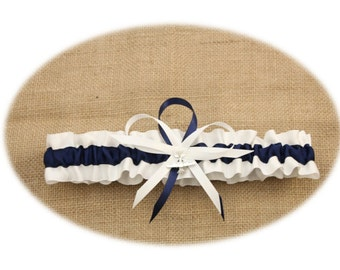 White Satin and Navy Blue Wedding Toss Garter with Airplane Charm