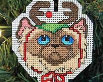 Handmade Grumpy Cat Cross Stitch Christmas Ornament