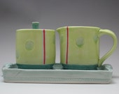 Creamer and Sugar Set with Tray In Lime and Caribbean Celadon Handmade by Diann Adams  *FREE SHIPPING