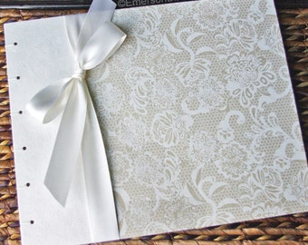 Elegant Guest Book, Bridal Shower Guest Book, Lace Guest Book in White and Ivory {MADE upon ORDER}